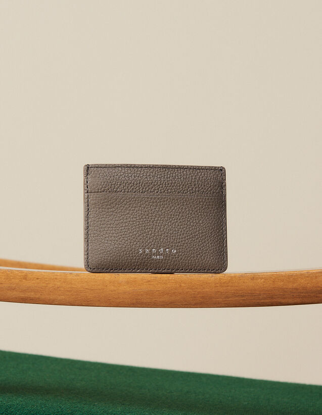 Grained Leather Card Holder : Card Holders & Wallets color Taupe