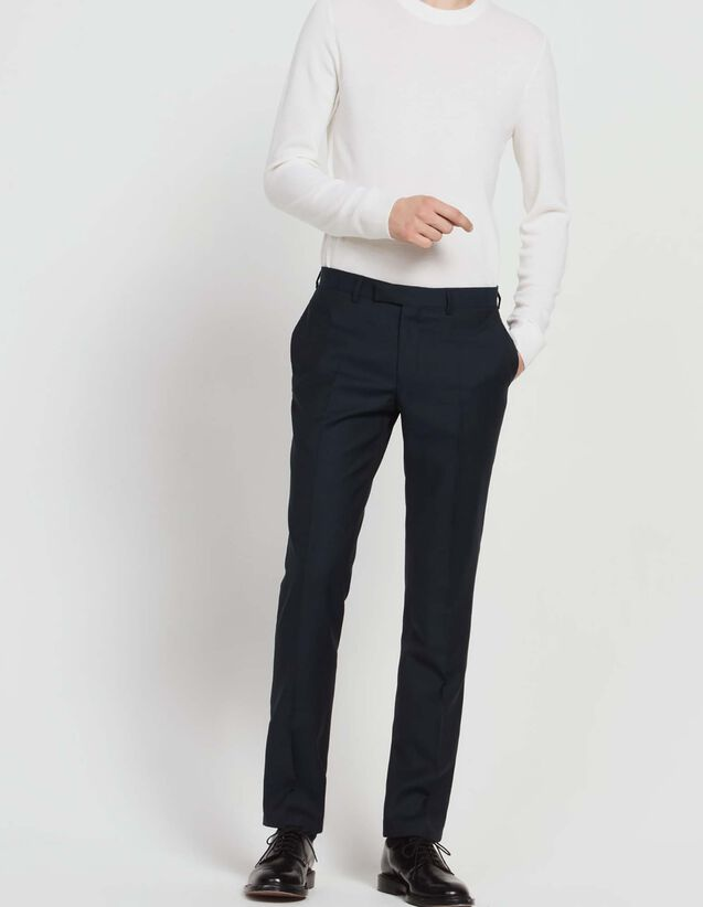 Virgin wool suit trousers : All Selection color Peacock Blue