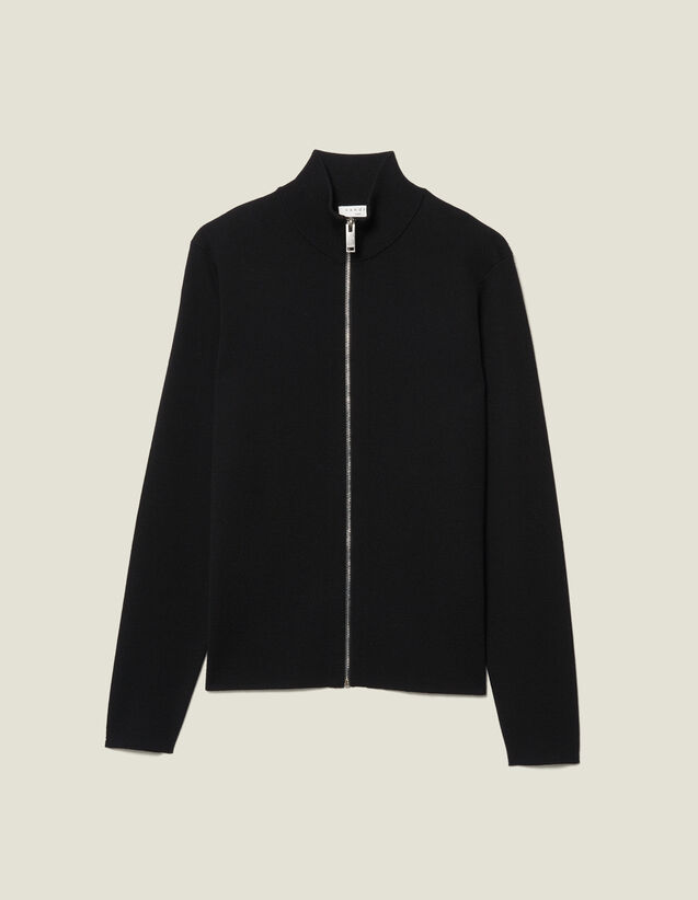 Zip-Up Wool Cardigan : Sweaters & Cardigans color Black