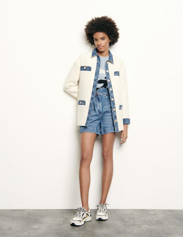 Tweed jacket with denim inserts : Blazers & Jackets color Ecru