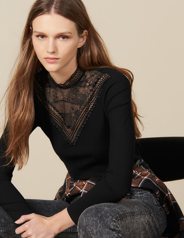 T-Shirt With Lace Panel : FBlackFriday-FR-FSelection-30 color Black