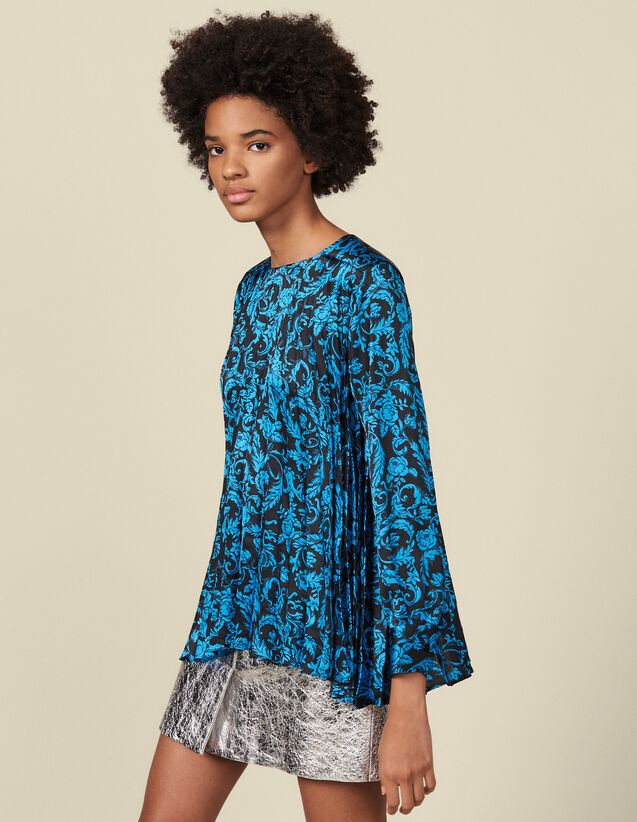 Floaty printed top with pleats : Tops & Shirts color Blue