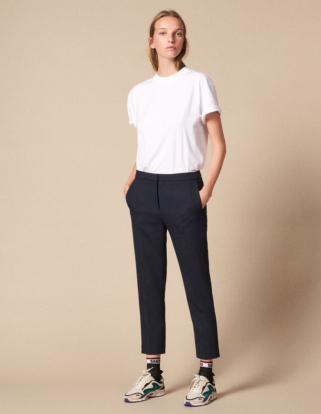 Plain Darted Trousers : Pants color Navy Blue