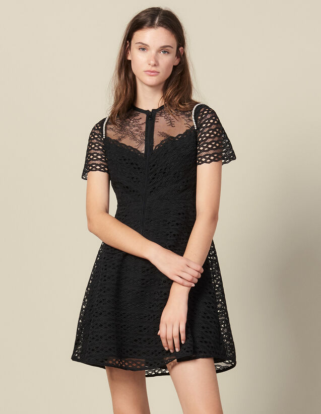 Guipure Skater Dress : Dresses color Black