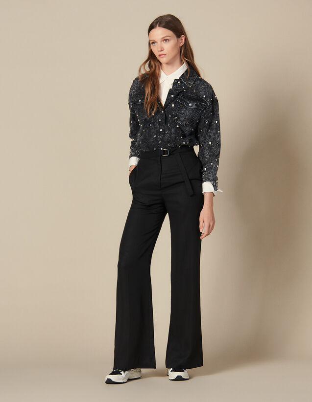 High-waisted wide-leg trousers : Pants color Black