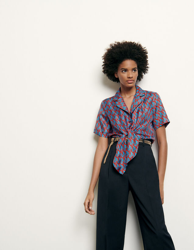 Printed silk pyjama shirt : New Summer Collection color Blue