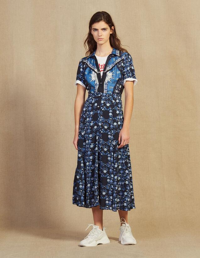 Long Flowing Printed Shirt Dress : Dresses color Blue