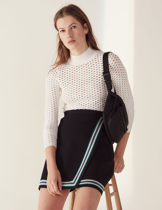 Wraparound-Style Knit Skirt : Skirts & Shorts color Black