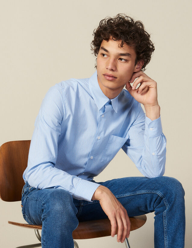 Striped Shirt With Breast Pocket : All Winter collection color Blue/white