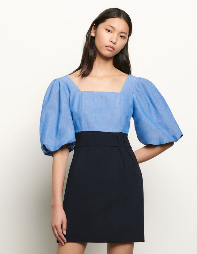 Dual material dress with square neckline : New Summer Collection color Blue