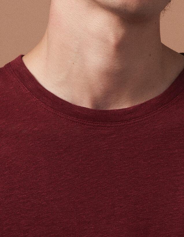 Linen T-Shirt : T-shirts & Polo shirts color DARK BURGUNDY RED