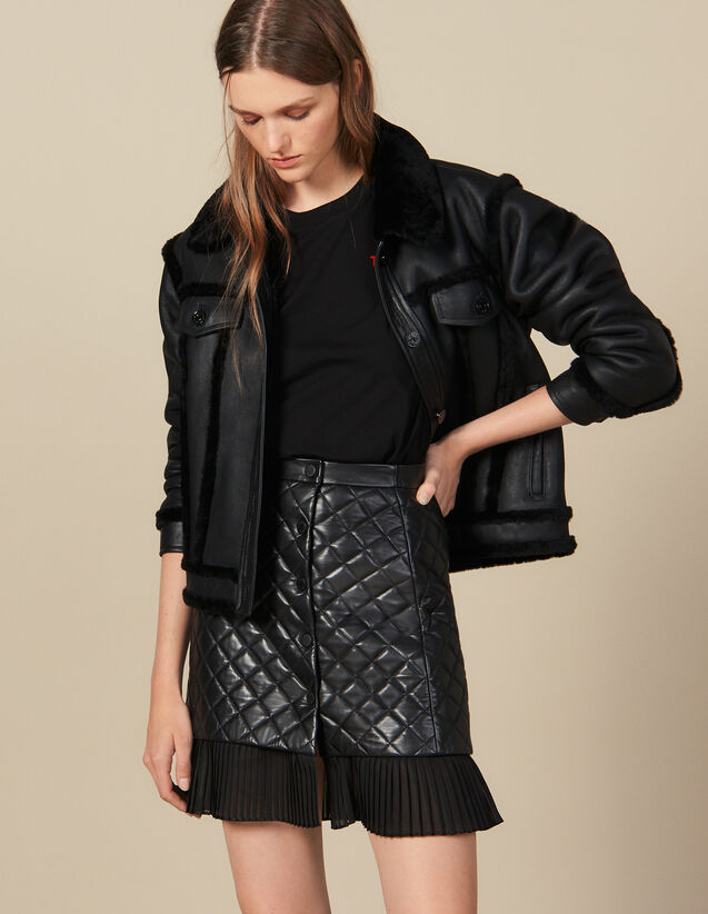 Short Quilted Leather Skirt : Skirts & Shorts color Black