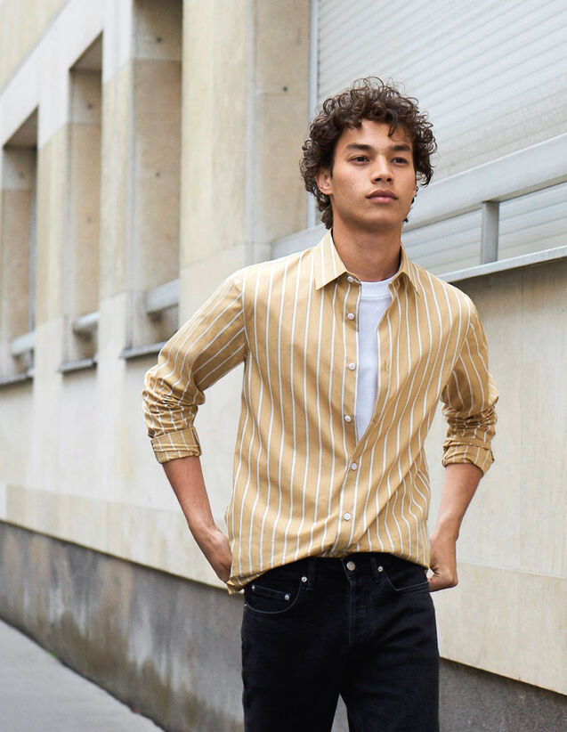Striped Cotton Shirt : New Collection color Beige/White