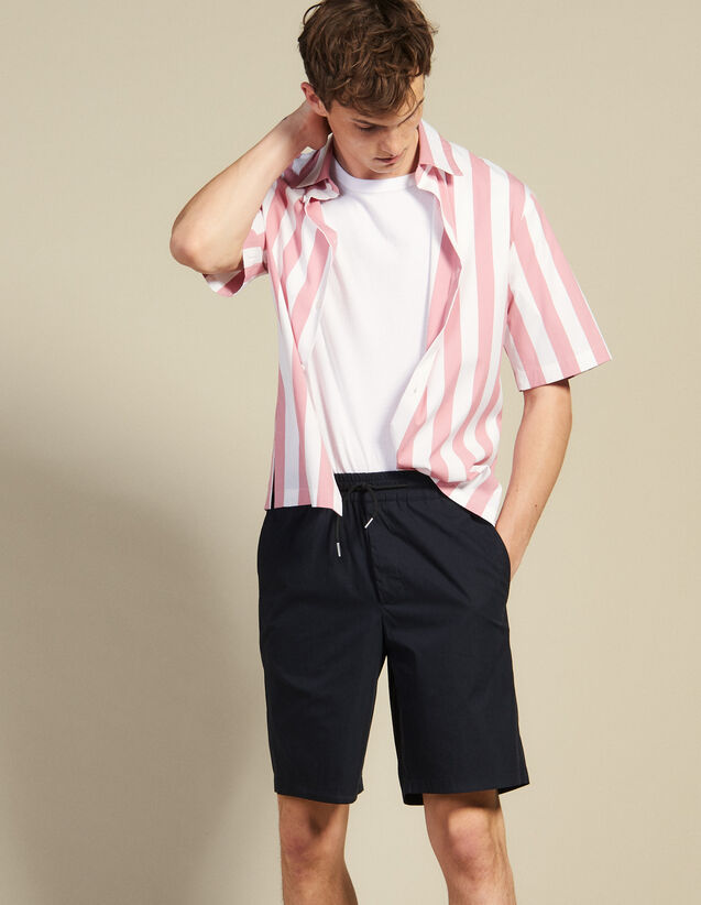 Drawstring Waist Bermuda Shorts : Pants & Shorts color Navy Blue