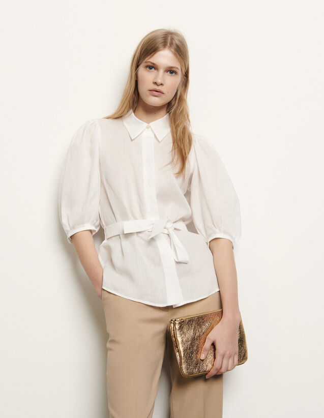Shirt with removable belt : New Summer Collection color Ecru