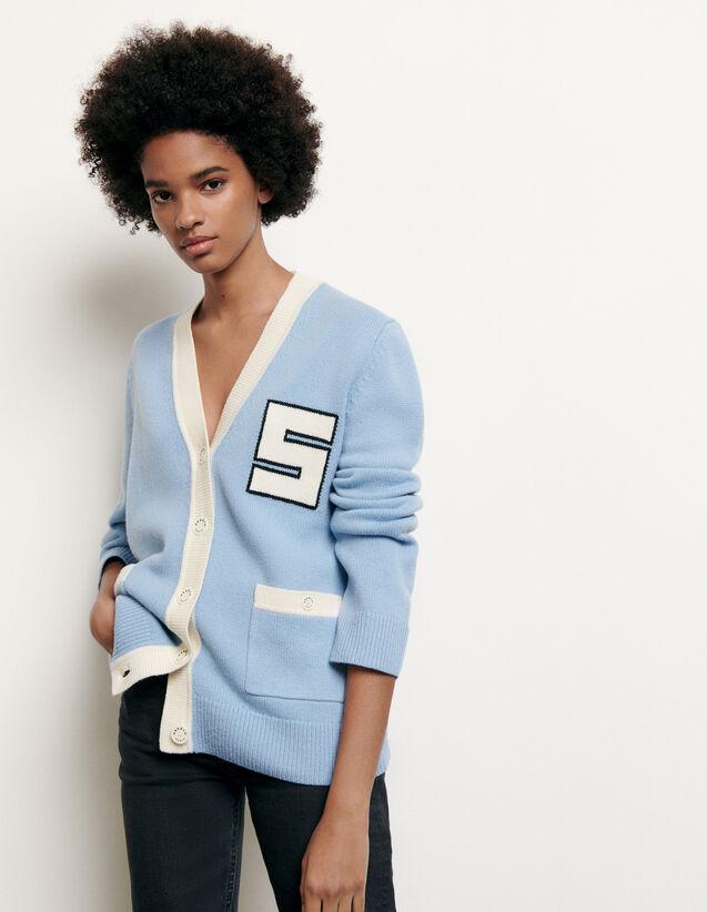 Cardigan en laine esprit collège : FNouvelle-Collection-Ete couleur Ciel