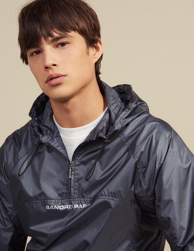 Hooded Windbreaker : Blazers & Jackets color Grey