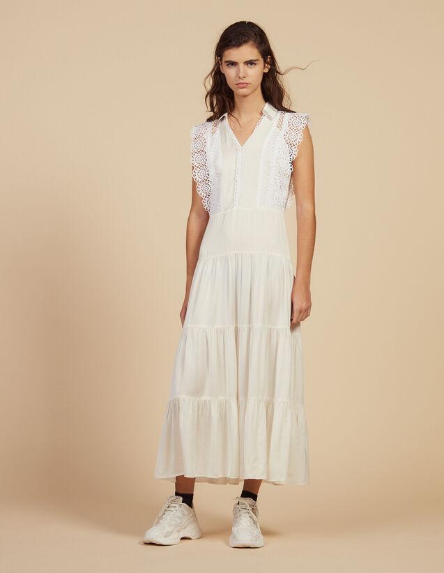 Midi Dress Decorated With Lace Trims : Dresses color Ecru