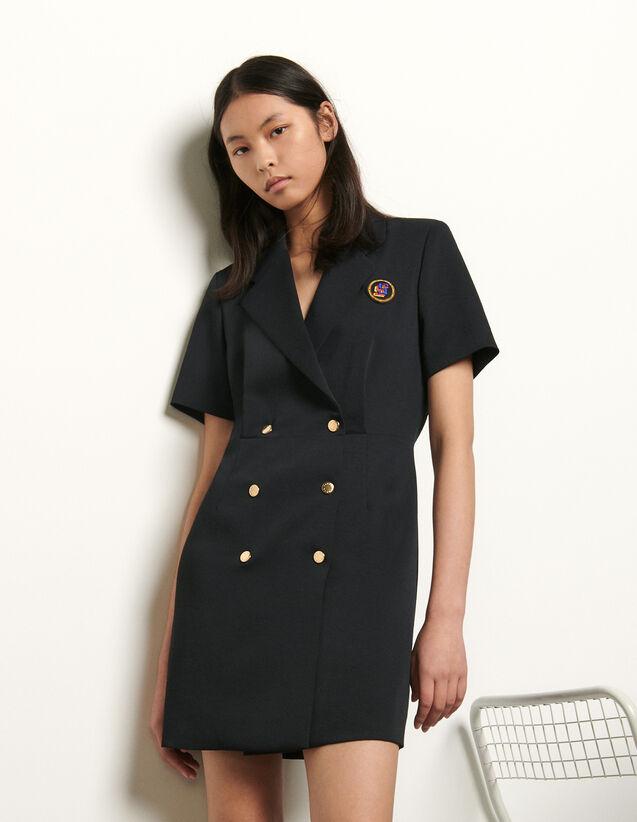 Robe tailleur à boutonnage croisé : FNouvelle-Collection-Ete couleur Marine