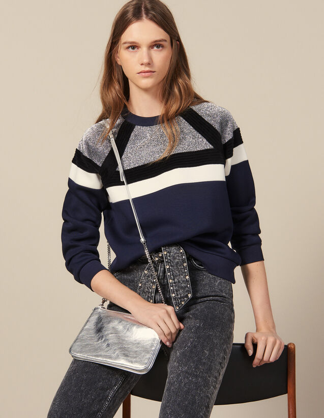 Sweatshirt with stripes : Sweatshirts color Navy Blue