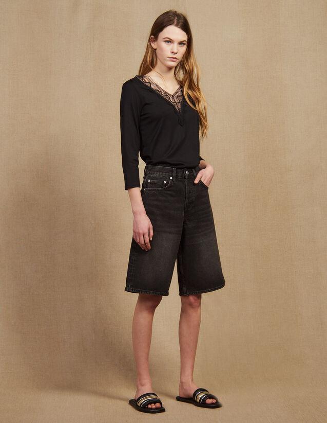 T-Shirt With Lace Neckline : LastChance-FR-FSelection color Black