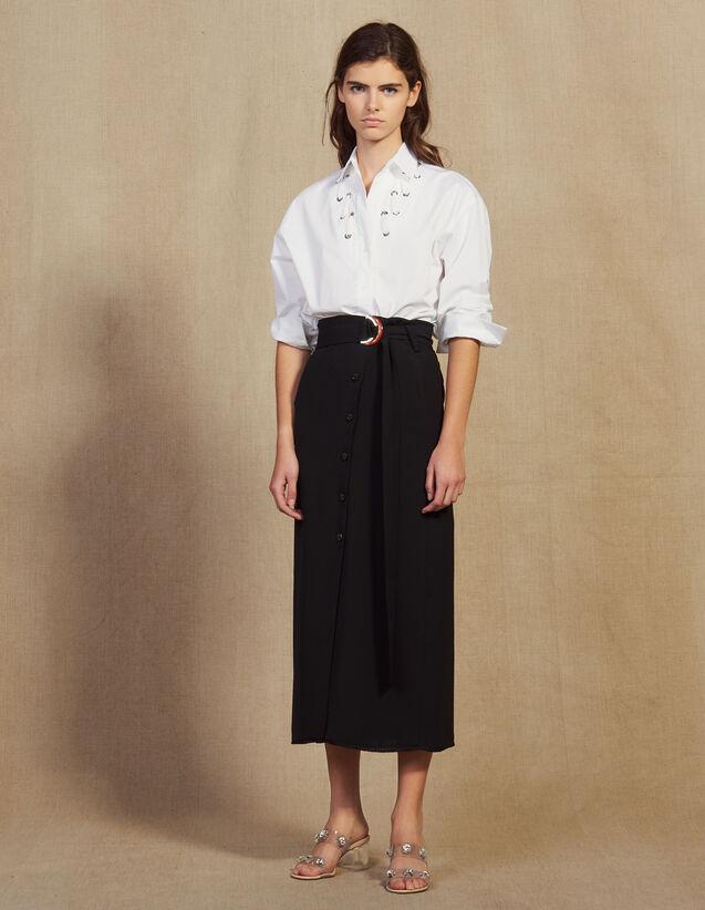 Long Wrapover Skirt : Skirts & Shorts color Black