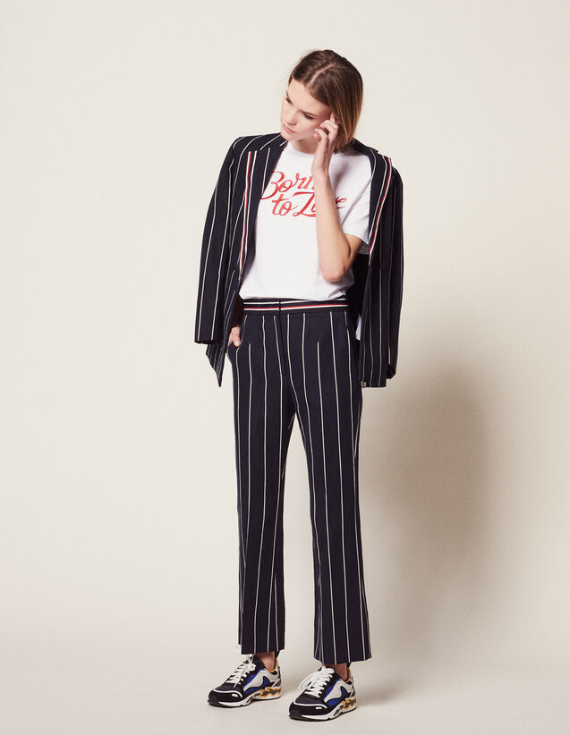 Trousers With Contrasting Stripes : LastChance-FR-FSelection color Navy Blue