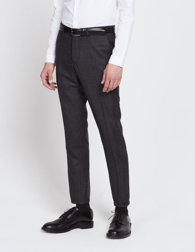Slim fit micro checked trousers : All Selection color Grey