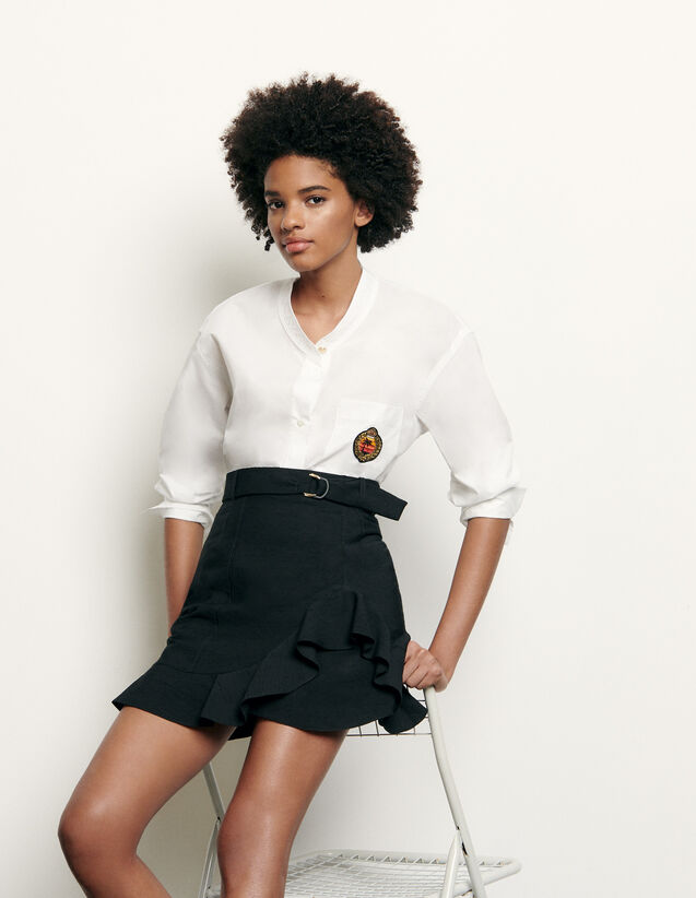 Long-sleeved shirt with military collar : New Summer Collection color white