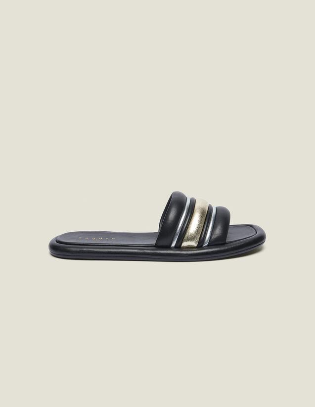 Flat Mules In A Blend Of Materials : LastChance-FR-FSelection color black/gold