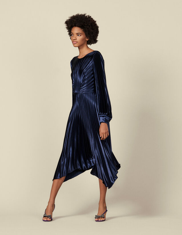 Asymmetric pleated dress : Dresses color Navy Blue