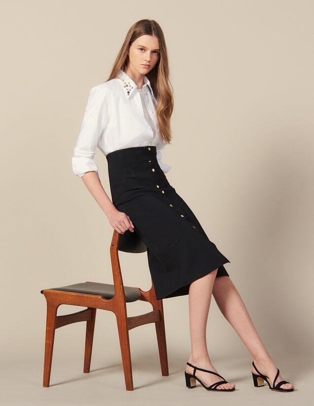 Long, Figure-Hugging Knit Skirt : New In color Black