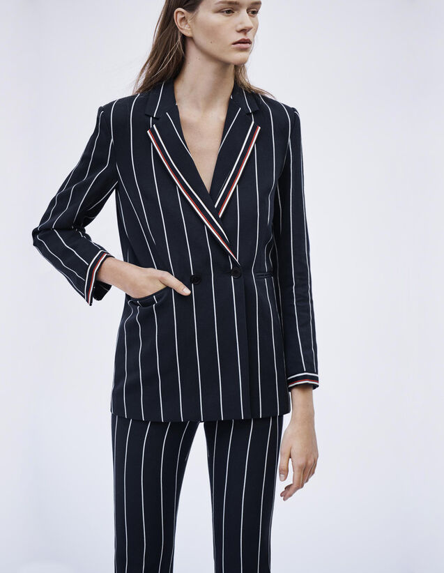 Matching Striped Blazer : Blazers & Jackets color Navy Blue