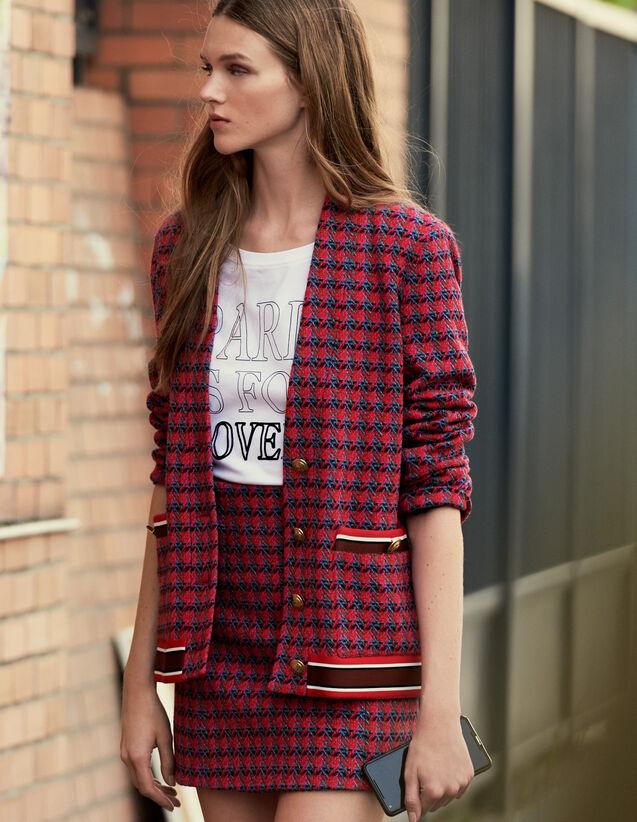 Cardi-coat en tweed et boutons bijoux : Blousons & Vestes couleur Rouge