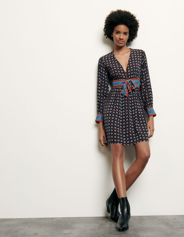 Printed short silk dress : New Summer Collection color Black