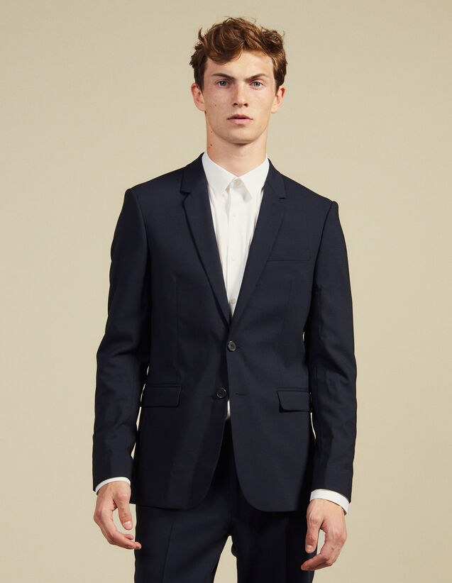 Wool Suit Jacket : Suits & Tuxedos color Navy Blue