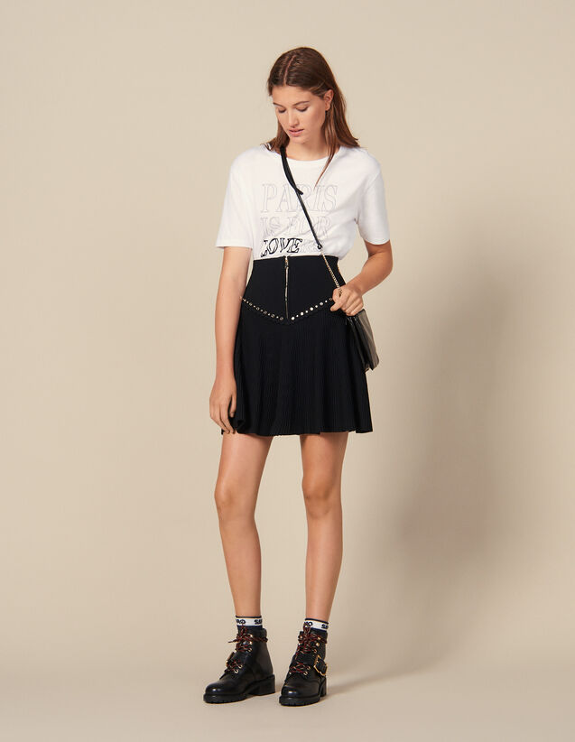 Flared Knit Skirt With Zip : New In color Black
