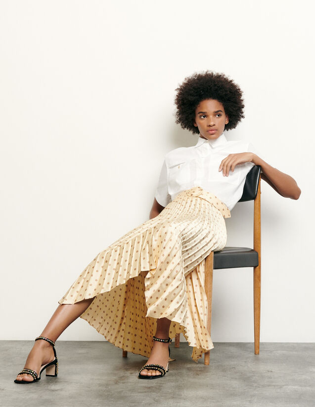 Pleated and printed skirt with belt : New Summer Collection color Yellow