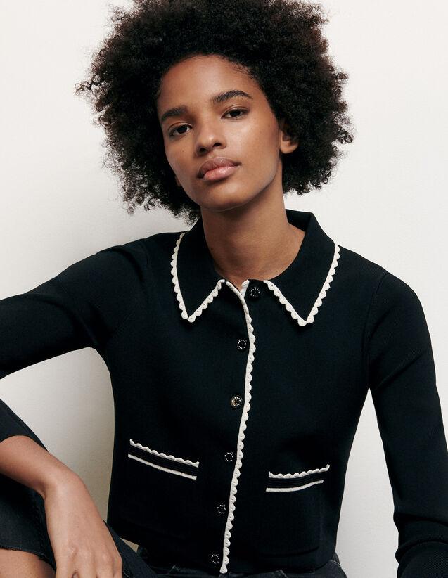 Cardigan court à col chemise : FNouvelle-Collection-Ete couleur Noir
