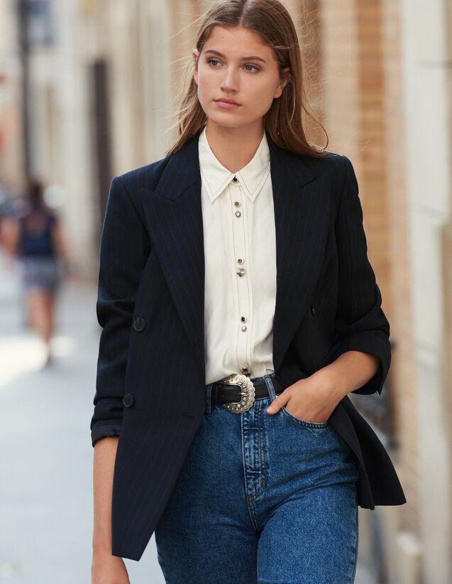 Blazer oversize à rayures : FBlackFriday-FR-FSelection-Blousons&Manteaux couleur Noir