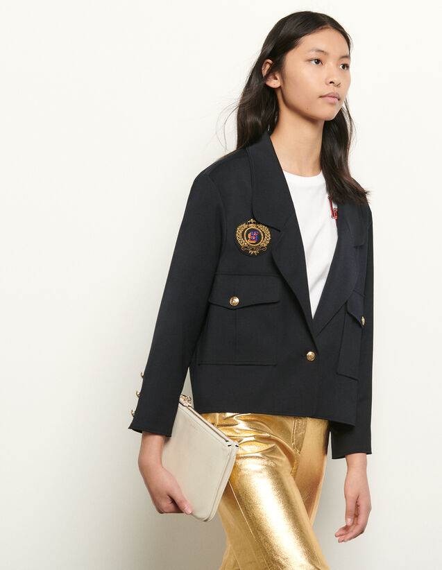 Short tailored jacket with patch : New Summer Collection color Navy Blue