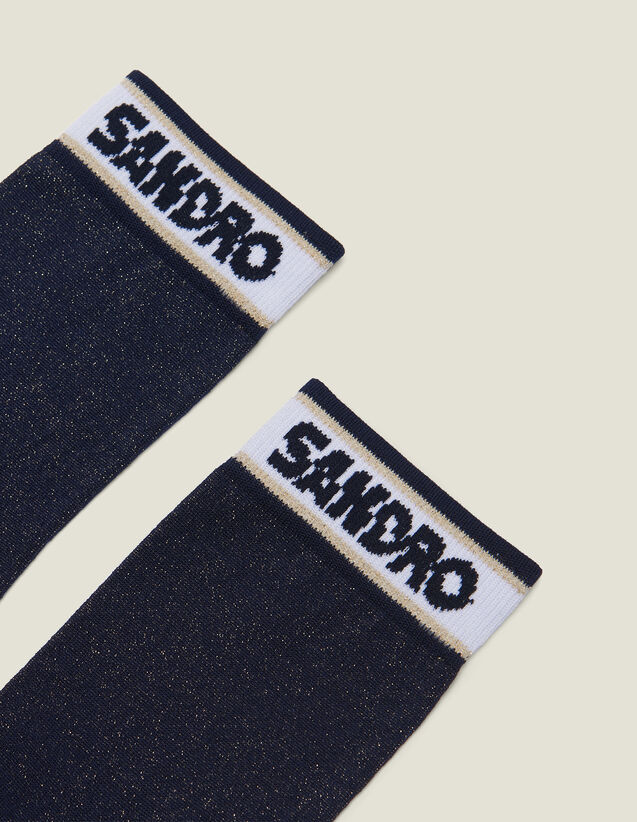 Lurex Socks With Sandro Logo : null color Navy Blue