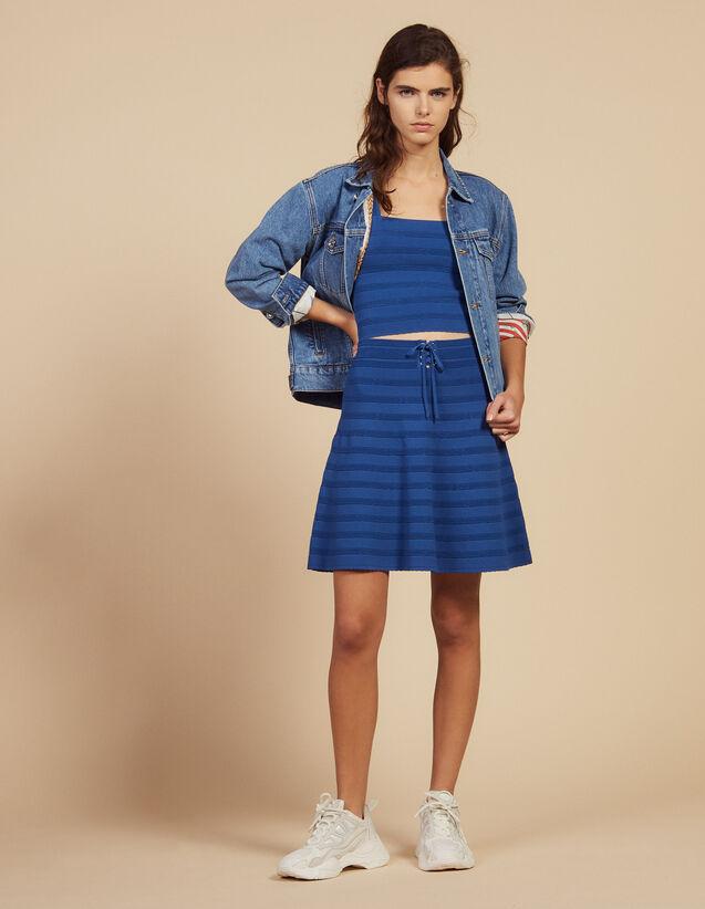 Short Flared Knit Skirt : Skirts & Shorts color Blue Jean