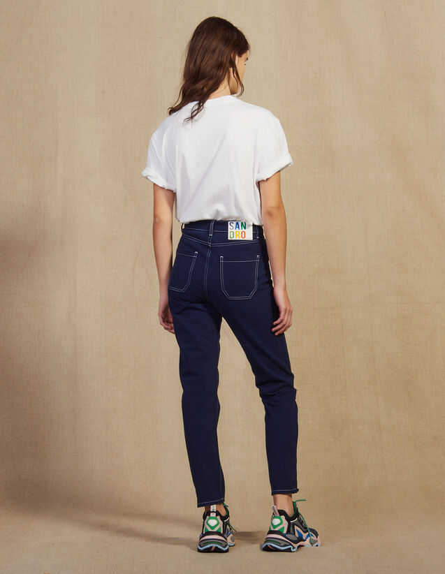 Jeans With Contrasting Stitching : LastChance-FR-FSelection color Navy Blue