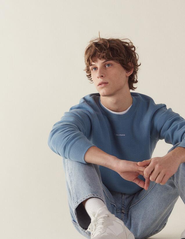 Sweatshirt With Logo Embroidery : Sweatshirts color Steel blue