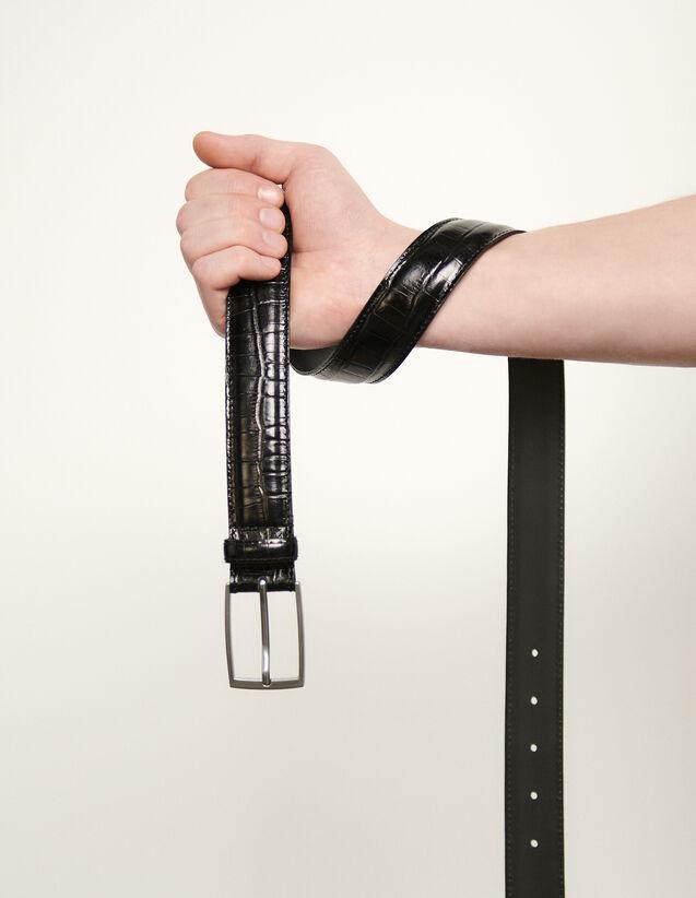 Embossed leather belt : Belts color Black