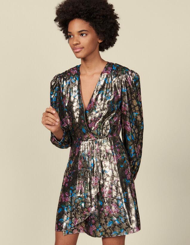 Short lurex jacquard dress : Dresses color Multi-Color