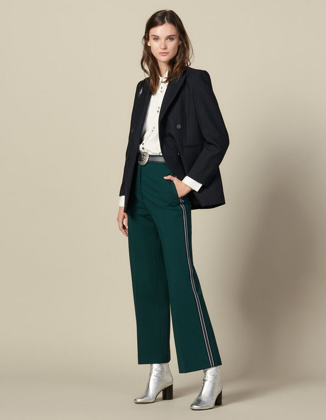 Wide-leg trousers with tricolour trim : FBlackFriday-FR-FSelection-30 color verde