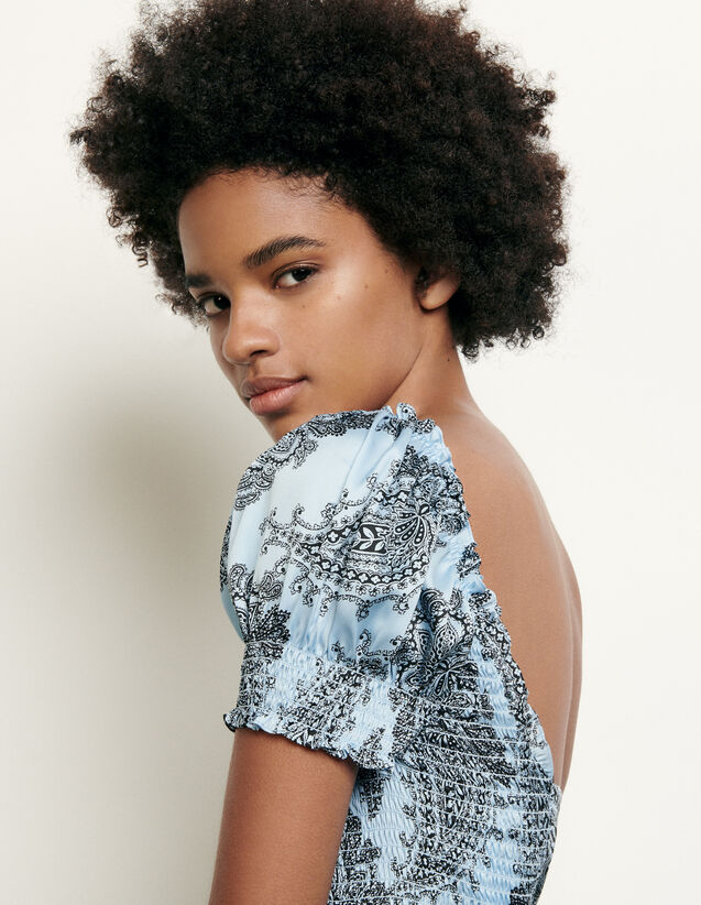 Cropped smocked top with print : Best of the season color Blue