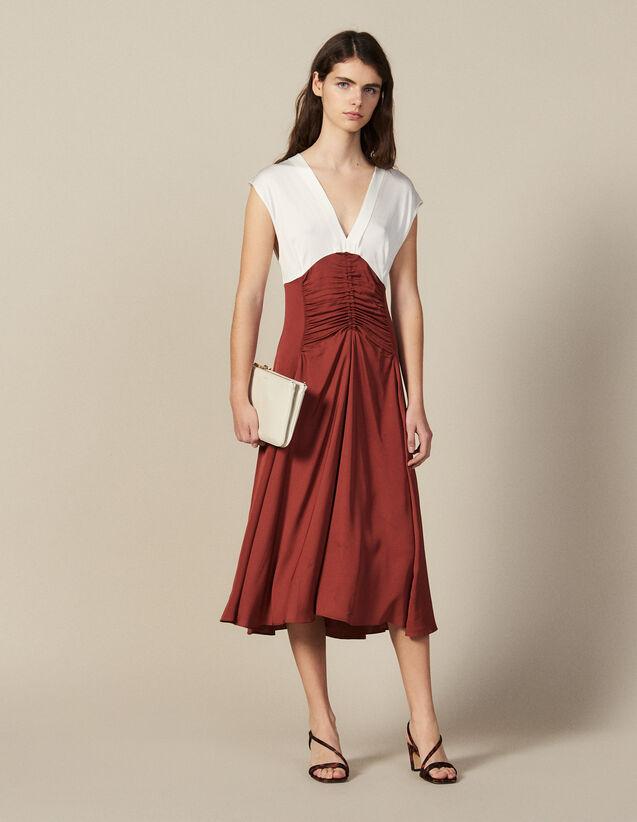 Midi Dress With Pleats : Dresses color Ecru